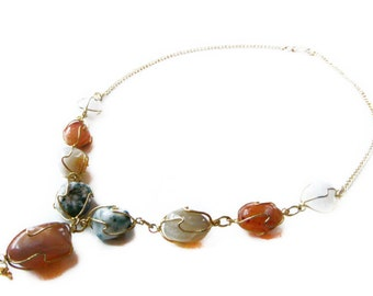 Raw Agate Necklace, Natural Stones, Wire Wrapped Necklace, Wire Work Genuine Raw Agate Necklace, Vintage Handmade Agate Necklace, Gift Ideas