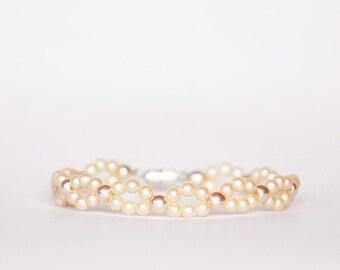 Pearl Bracelet, Ivory Pearl Bridal Bracelet, 1970s Vintage Wedding Bracelet, Vintage Pearl Bracelet, Bridal Bracelet, Peach Pearl Bracelet