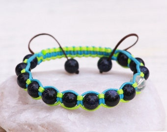 Natural stones bracelet, Agate Bracelet, Sandstone bracelet, Neon bracelet, Macrame Bracelet, Tibetian Shamballa Style Bracelet