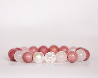 Rhodonite Bracelet, Grade A Rhodonite, Pink Stone Bracelet, Stretch Bracelet, Rose Quartz Bracelet,Swarovski Crystal bracelet,Pearl Bracelet