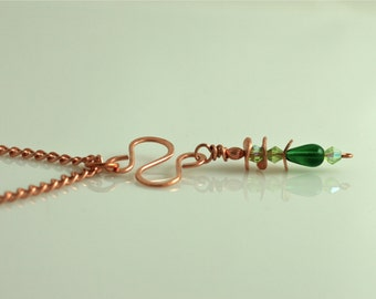 Curves in Copper with Shades of Green Necklace