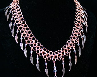 Copper Chainmaille Necklace Angel Wings and Swarovski Crystals Pendants