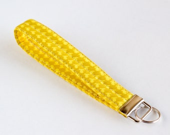 Yellow Key Fob, Keychain, Key Wristlet, Yellow Cotton Fabrics, Handmade