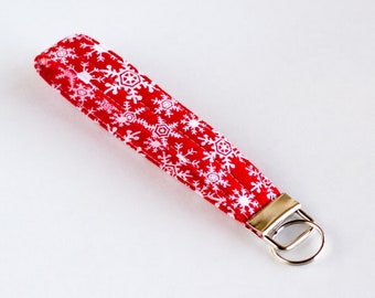 Snowflake Key Wristlet, Red and White Keychain, Key Fob, Red Cotton Fabrics, Handmade