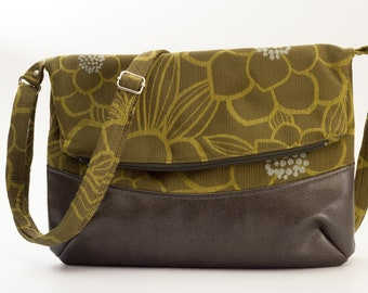 Green Floral Crossbody Bag, Floral Fold Over Bag, Fold Over Purse, Green, Gray Faux Leather, Green, Blue, and Gray Cotton Fabrics, Handmade