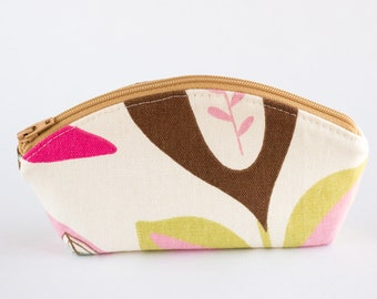 Small Floral Zipper Pouch, Coin Purse, Cosmetic Pouch, Petal Pouch, Tan, Pink, Blue, Green, Blue, and Brown Cotton Fabrics