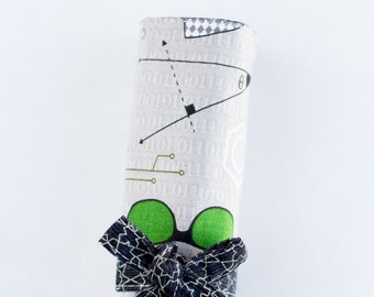 Science Colored Pencil Roll, Gray Pencil Holder, Science Geek Pen Roll, Gray, Green, and Blue Cotton Fabrics, Handmade