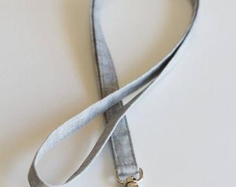 Gray Lanyard, Cotton Badge Holder, Keychain, Gray Cotton Canvas Fabric, Handmade