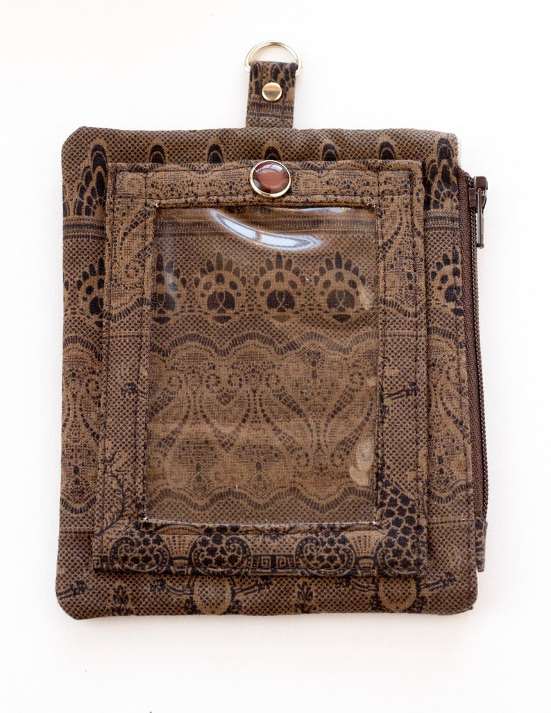 Brown Paisley Badge Holder Brown and Black Cotton Fabrics Zipper Pouch with Clear Window Handmade ID Wallet Brown Lanyard Wallet