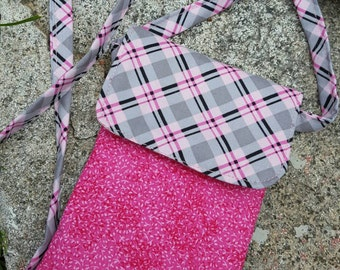 Pink Phone Hipster, Plaid Crossbody Bag, Pink & Grey Hip Bag, phone case, Fabric Phone Hipster