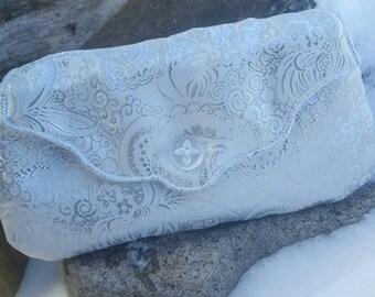 White Damask Clutch, Formal Clutch, Bridal Clutch