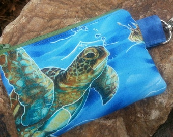 Sea Turtle  Coin Purse,  Personalized Zipper Wallet, Ear Bud Pouch, Kids Change Purse, credit card pouch