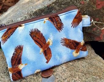 Eagle Coin Purse, Small Zipper Wallet, Kids Change Purse, Ear Bud Case, Eagle Zipper Pouch, credit card pouch