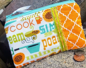 Chef Coin Purse, Zipper Wallet for Cook, Bakers Coin Purse, Ear Bud Pouch, Chef's Zipper Bag, credit card pouch
