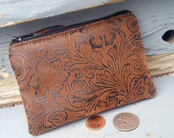 Faux Leather Coin Purse, Brown Tooled  Zipper Wallet, Tooled Leather Change Purse, Ear Bud Pouch, credit card pouch