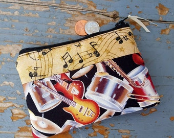 Music Coin Purse, Drum Change Wallet, Guitar Coin Purse, Musician's Coin Purse, Music Teacher Gift, Guitar Change Purse, Ear Bud Pouch
