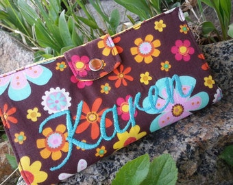 Personalized  Floral  Checkbook Cover, Fabric Checkbook Cover, Colorful checkbook, Checkbook Case, Brown Checkbook