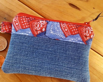 Denim Coin Purse, Western Coin Purse, Bandana Change Purse,  Bandana Zipper Wallet, Ear Bud Pouch, Denim Pouch, Western Zipper Bag