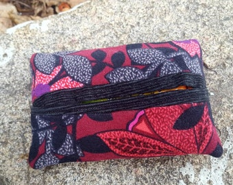 Suede Tissue Case,  Floral Tissue Holder, Pocket Tissue Keeper, Red and Black Tissue case