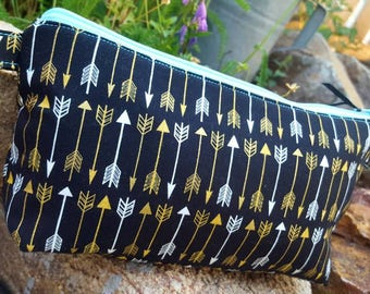 Arrow Pencil Case, School Supply Zipper Bag, Arrow Cosmetic Bag, Makeup Bag, Arrow Travel Pouch