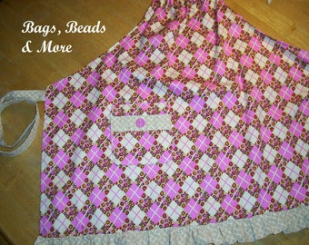 Girl's Pink April, Full Apron with Ruffle, Leopard Apron, Girls Apron, Apron with ties, small apron