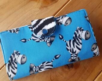Zebra Checkbook Cover, Zebra Coupon Wallet, Zebra Wallet, Fabric Checkbook Case