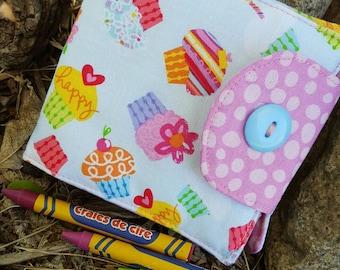Cupcake Crayon Wallet, Girl's  Billfold, Crayon Holder, Crayon Roll, Girls Crayon Roll