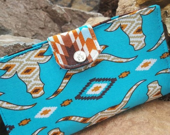 Longhorn Checkbook Cover, Coupon Wallet, Fabric Checkbook, Southwest Checkbook, Fabric Checkbook