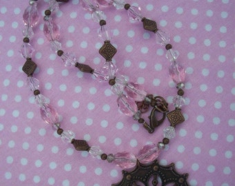 Pink Beaded Necklace with Copper Pendant and Matching Earrings