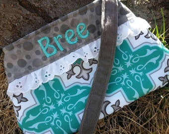 Personalized Little Girls Purse, Teal and Grey Toddler Purse, Girl's Purse with Name, Easter Purse, Flower Girl Purse