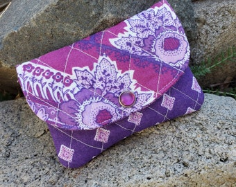 Plum Quilted Business Card Holder, Small Fabric Wallet, purple Wallet,  small wallet, Credit card case, pocket wallet, gift card holder