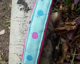 Turquoise  Quilted Keychain Wristlet, Polka Dot Keychain, Keyfob
