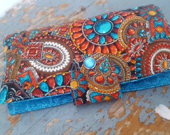 Southwest Checkbook Cover,  Coupon Wallet, Fabric Checkbook, Ladies checkbook, Checkbook with snap