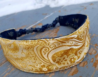 Gold Damask Headband, Ladies Reversible Denim Headband, Fabric Headband