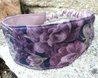 Purple Reversible Headband, Ladies Floral Headband, Purple headband