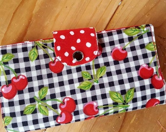 Cherry Checkbook Cover, Cherry Coupon Wallet, Fabric Checkbook Cover, Cherry Accessory, Cherry Checkbook Case, Gingham Checkbook
