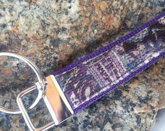 Corduroy Keychain Wristlet, Purple Keychain, Keyfob, Keychain Lanyard, Corduroy Lanyard, Teachers gift