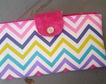 Colorful Chevron Checkbook Holder, Personalized Coupon Wallet, Fabric Checkbook