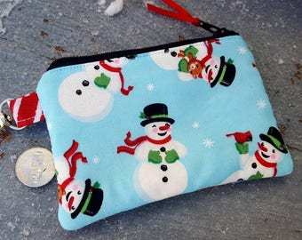 Christmas Coin Purse, Snowman Zipper Wallet, Ear Bud Pouch, Stocking stuffer, Snowman Change Purse. Winter zipper Wallet
