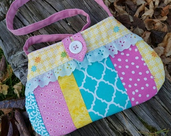 Patchwork Toddler Purse, Little Girl's Purse, Flower Girl Purse, Girl's Handbag, Easter Purse