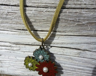 Floral Necklace with Suede Cord