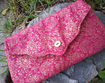 Red and Gold Formal Clutch, Christmas Clutch, Red Purse, Bridesmaid Clutch, Fabric Clutch