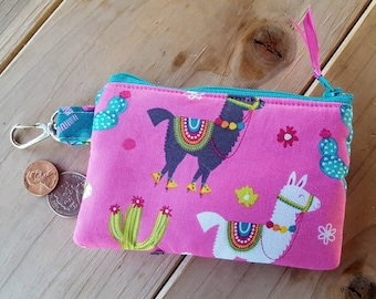 Llama Coin Purse, Girl's Coin Purse, Pink Coin Purse, Llama Zipper Wallet, Change Purse, Ear Bud Pouch, Zipper Bag,  Pocket Wallet