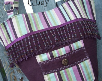 Purple Tote, Purse with Fringe, Plum Purse, Purse with magnetic snap, Purse with Pockets, Purse with Button, Striped Purse