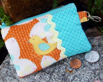 Bird Coin Purse, Zipper Wallet, Bird Change  Purse, Ear Bud Pouch, Zipper Bag, Bird Pouch, Girl's Change Purse
