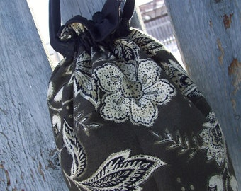 Floral Wristlet, Drawstring Bag, Fabric Wristlet, Brown Wristlet, Drawstring Purse, Wristlet on Sale