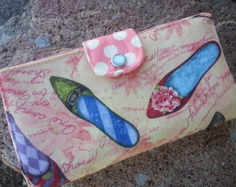 Shoe Checkbook Cover,  Coupon Wallet, Fabric Checkbook Cover, Shoe Wallet