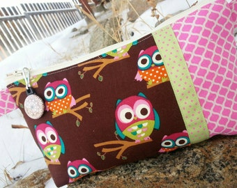 Owl Pencil Case, Cosmetic Bag, Makeup Bag, Owl Gift, Owl Pencil Pouch, Girls Pencil Pouch