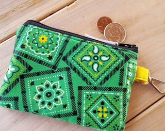 Western Coin Purse, Green Bandana Change Purse,  Bandana Zipper Wallet, Ear Bud Pouch, Bandana Pouch, Green and Yellow Pouch