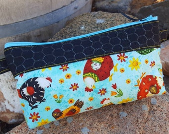 Chicken Cosmetic Bag, Pencil Pouch, Purse Organizer, Chicken Makeup Bag, Cash Bag, Travel Bag, School Accessory Bag, Chicken Zipper Bag